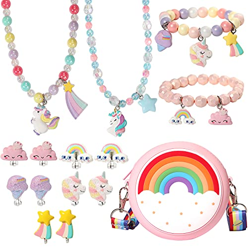 PinkSheep Unicorns Gifts for Girls 10 Pc Rainbow Gifts Unicorn Purse Jewelry Set for Kids Girl 9PC Unicorn Clip-on Earring Unicorn Necklace Bracelet Bag Backpacks Little Girl Jewelry Accessories