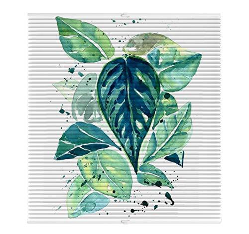 Liveinu Plissee Faltrollo mit Bienenwabe Ohne Bohren mit Klemmträger Thermo-Plissee Blickdicht für Fenster und Tür Sichtschutz und Sonnenschutz 55x200cm Tropische Pflanze 6