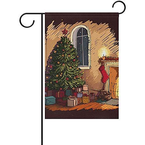 KL Decor Thuis Tuin Vlaggen, Gezellige Kerstavond Scene In Het Interieur Met Open Haard Boom En Presenten Creatieve Huis Tuin Banners Voor Tuinwerf