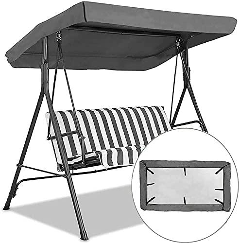 Ersatz-Baldachin für Hollywoodschaukel, 3-Sitzer-Größen, 210D-Oxford-Stoff, für den Außenbereich, mit 8 verstärkten Ecktaschen, UV-Schutz (grau)