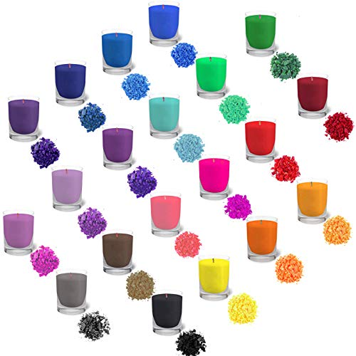 Lzshop-EU 20 Colori per Candele tintura di Cera di soia colorante in Fiocchi per la Fabbricazione di Candele colorante per Cera per Candele Fai da Te 10 g Ogni Confezione (20 * 10g)