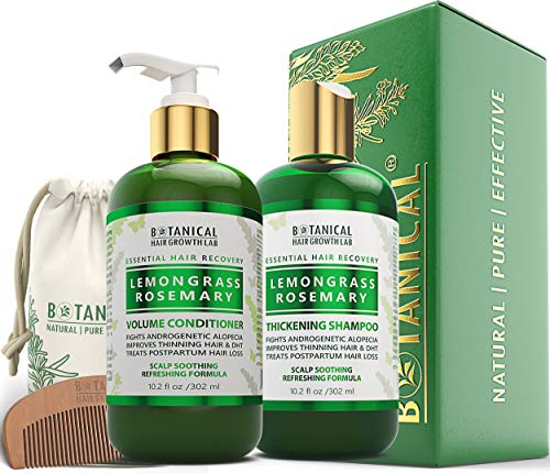 BOTANICAL HAIR GROWTH LAB - Shampoo and Conditioner Gift Set - Lemongrass Rosemary - Essential Hair Recovery - Scalp Soothing/Refereshing - For Hair Loss Prevention Alopecia Postpartum DHT Blocker