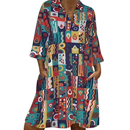 routinfly Damen Freizeitkleid Cocktailkleid,2019 neu Kleider Abendkleid Shirtkleid Plus Size Damenmode 3/4 Ärmel Tiefem V-Ausschnitt Folk-individuell Bedruckte Kleider Kleid mit Ethno-Print S-3XL