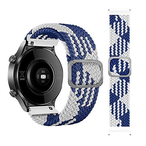 Sport de Correas de Trenzada Compatible con Samsung Galaxy Watch 46mm/Gear S3 Frontier/Classic, 22mm Correas de Elástica Deportiva con Nylon Compatible para Huawei Watch 2 Pro, Azul Blanco