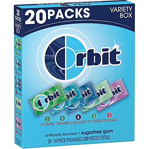 Orbit Gum ugarfree Gum, Mint Variety Box 14 ct, 20 pks.
