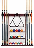 Cue Rack Only - 6 Pool Cue - Billiard Stick Wall Rack Made of 100% Wood Choose Mahogany, Black or Oak Finish