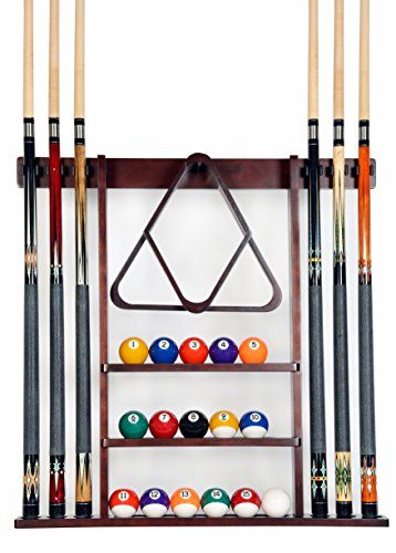 Iszy Billiards Queue-Rack Only – 6 Poolqueue – Billardstock Wandregal aus Holz – wählen Sie Mahagoni, Schwarz oder Eiche, Unisex-Erwachsene, F15001-mah, Mahagoni