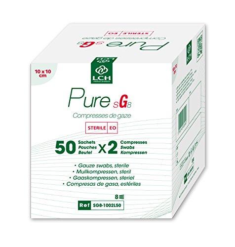 LCH – SG8-1002L50 – Compresses de Gaze Stériles – Douces au Toucher – Ne se Déforment Pas – N'adhérent pas à la Peau – Compatible avec toutes les Solutions Antiseptiques