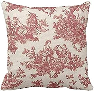 JOOCAR Red Vintage Toile Retro Life Linen Indoor Decor Throw Pillow Cover/Case with Zipper Soft Cushion (Two Sides)
