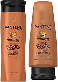 Pantene Truly Natural Hair Moisturizing Shampoo (12.6 oz) & Curl Defining Conditioner (12 oz) Set