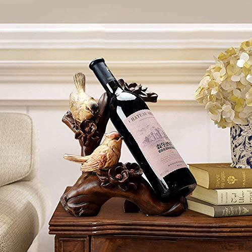 CAIJINJIN estante del vino Las aves del estante del vino del refrigerador de vino Decoración del estreno de regalo europeo y americano de Inicio Casado resina artesanal hecho a mano animal Adornos del