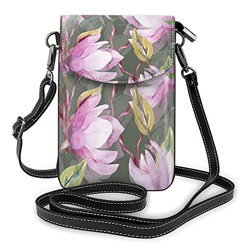 QQIAEJIA Magnolia Flowers - Bolso cruzado para teléfono celular, diseño abstracto de Bitany con flores y magnolia, color verde, piel sintética, bolsa para teléfono
