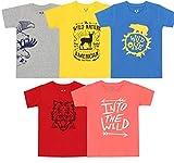Elk Kids Boys Cotton Printed T-Shirts Pack of 5 Grey Yellow Blue Grey