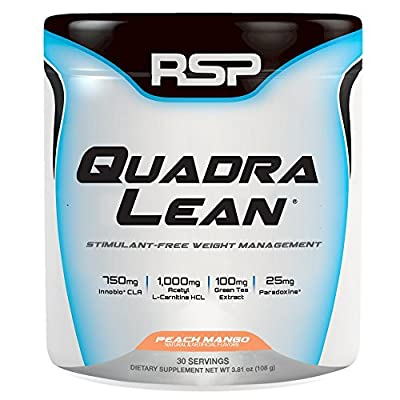 RSP QuadraLean Stimulant Free Fat Burner Pills, Weight Loss Supplement, Appetite Suppressant & Metabolism Booster, Diet Pill for Men & Women