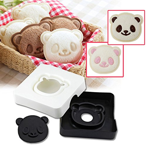 Sandwich Bread Cutter, GOLDSTAR Cute Little Panda Shape Sandwich Bread Cake Maker DIY Mould Pocket Cutter [Safe PP Material], Toast Mold Tool, Cookie Stamp Kit (A)