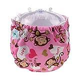 Happy Cherry Pañal de Tela Lavable Reutilizable Ajustable Infantil Diaper para Bebé Niño Niña - Mono Feliz