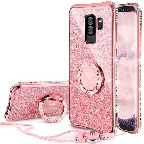 OCYCLONE Fundas Movil Samsung Galaxy S9 Plus,Purpurina Brillante Fundas Galaxy S9 Plus para Mujer con Glitter Diamante Anillo,Ultrafina Soft Funda Protector Samsung Galaxy S9 Plus,Oro Rosa