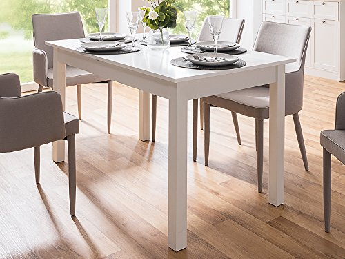 möbelando Esszimmertisch Holztisch Küchentisch Auszugstisch Tisch Esstisch Crawley III Weiß