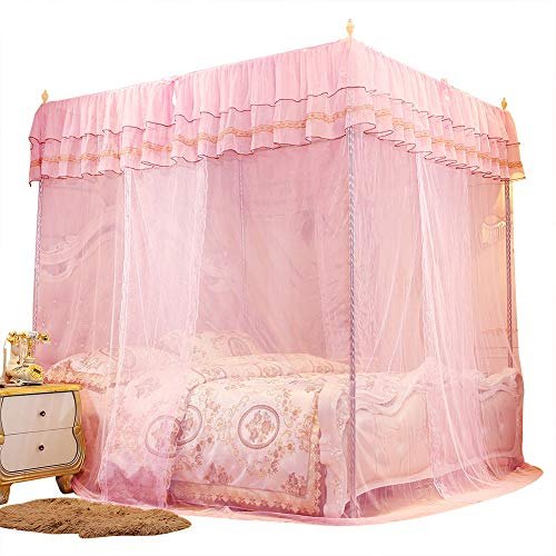 YIFengFurun Bedding Mosquito Nets Bed Eaves Lace Luxury Lace 3-door Mesh Anti-mosquito Pink