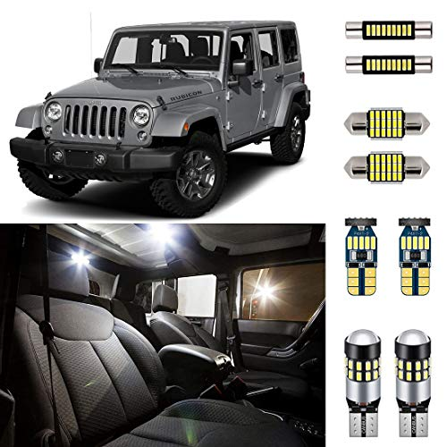 AUTOGINE 6 Piece CANBUS LED Interior Light Kit for Jeep Wrangler JK 4-Door 2007 2008 2009 2010 2011 2012 2013 2014 2015 2016 2017 Super Bright 6000K White Interior LED Bulbs Package + Install Tool