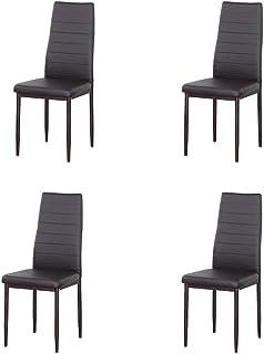 3327 Sillas de comedor de diseño retro modernas hechas de nogal macizo y patas de metal para la cocina, sala de estar, comedor, cafetería, etc. (marrón, 4)
