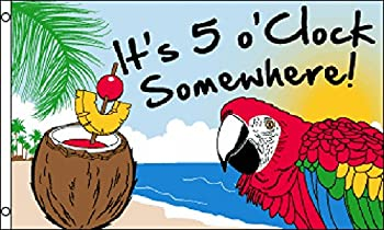 3 x5  It s 5 O Clock Somewhere Party Parrot FLAG