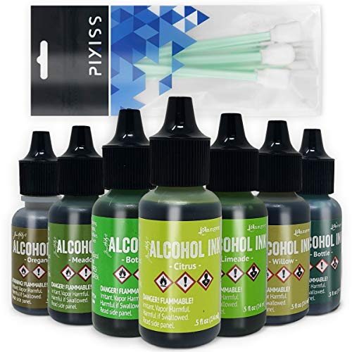 Greens Alcohol Inks Set | Tim Holtz Alcohol Inks Shades of Green 7-Pack | Willow, Citrus, Bottle, Oregano, Meadow, Limeade, Botanical | 10 Pixiss Alcohol Ink Blending Tools