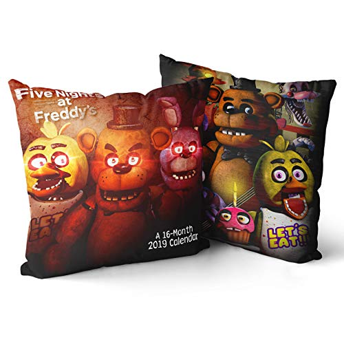 Fafan FNAF Pillow Cases Black Five Nights at Freddy's Throw Pillow Covers 18x18 Square 2 Pcs Horror Movie Decor Cushion Cover for Home Decorative