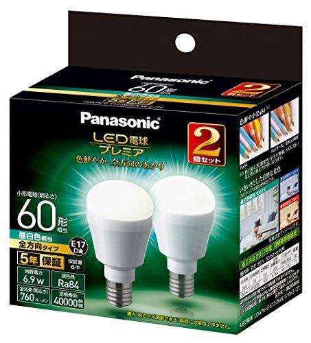 パナソニック LED電球 プレミア 口金直径17mm 電球60W形相当 昼白色相当(6.9W) 小型電球・全方向タイプ 2個入り 密閉形器具対応 LDA7NGE17Z60ESW22T