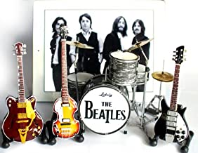 The Beatles Fab Four Miniature Guitar and Drums Set of 4 - Ringo Starr, John Lennon, Paul McCartney, George Harrison