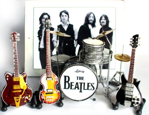 5. The Beatles Fab Four Miniature Guitar and Drums Set of 4