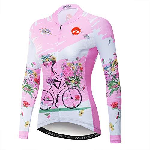Damen Radtrikot Langarm Blumen Shirt Team Bike Bekleidung - Pink - (Höhe 170/ 180 cmGewitch 65/70 kg)XXL