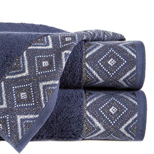 Eurofirany handdoek katoen zacht 70x140 cm Zick Zack geometrisch patroon metalen naad glitter borduurset 3 stuks Oeko-Tex, marineblauw, 70x140cm, 3