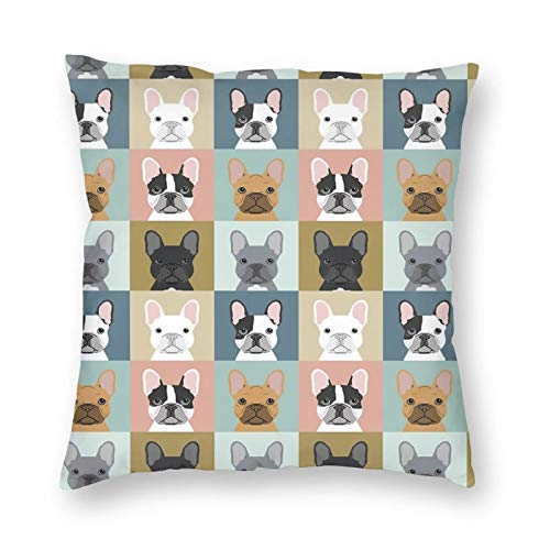 French Bulldog Dog Fashion Velvet Throw Pillow Case Home Decor Square 18'X18'Decorative Pillow Cases Square Cushion for Sofa