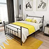 Metal Bed Frame Full Size with Headboard and Footboard Double Platform Mattress Base,Metal Tube and Iron-Art Bed,Black Sand-Line