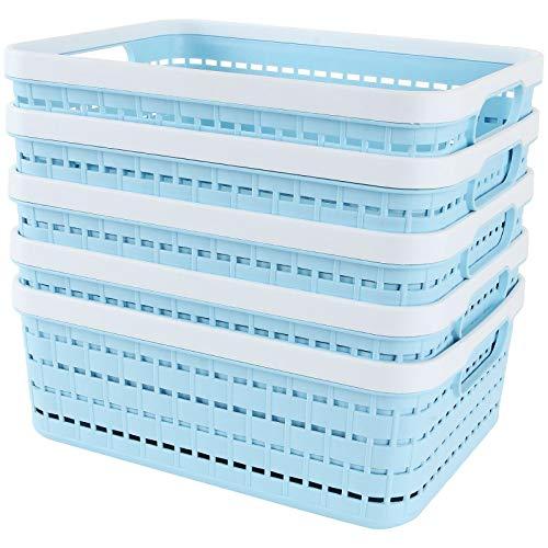 Starva ST - Set di 5 cestini portaoggetti in plastica, portatile, per cucina, ufficio, bagno, armadio, 286 x 220 x 110 mm, blu PP tessuto