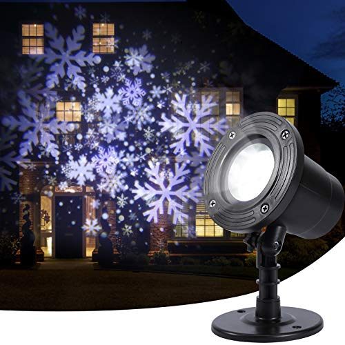 SOLLED Snowflake Projector Lights, Illuminate Farther & Waterproof Rotating Christmas Snowfall LED Projector Lights Snow Projector Light for Halloween, Christmas, Wedding, Party Outdoor Indoor Decor