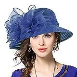 VECRY Señora Oaks Derby Iglesia Vestido Sombrero Bucket Boda Bowler Sombreros (Armada)
