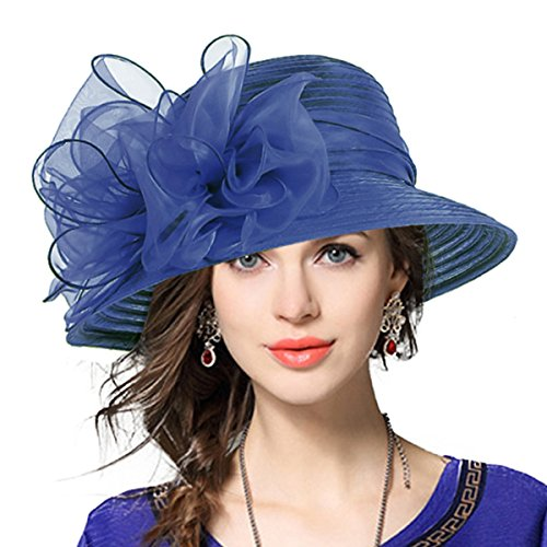 VECRY Lady Derby Dress Church Cloche Hat Bow Bucket Wedding Bowler Hats (Navy)