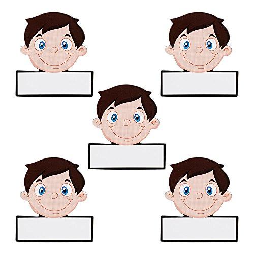 5 Namen Magnete Avatar Männer Wiederbeschreibbar 5,5 x 5 cm für Magnettafeln, Kühlschränke, Plantafeln und Whiteboards. Emoji Magnet Men Name Magnet