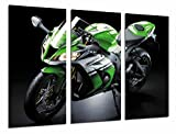 Cuadros Camara Poster Fotográfico Moto Kawasaki ZX-10R, Verde, Carretera Tamaño total: 97 x 62 cm XXL, Multicolor