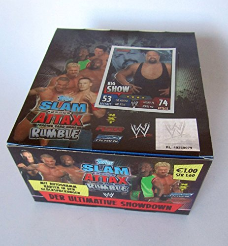 WWE SLAM ATTAX RUMBLE 50 BOOSTER im DISPLAY 250 KARTEN