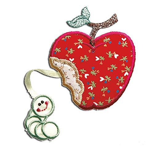 manzana con gusano - Parches termoadhesivos bordados aplique para ropa, tamao: 6 x 6 cm