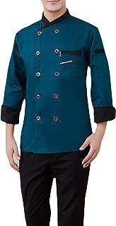Pandapang Men's Long Sleeve Waiter Work Kitchen Cook Jacket Chef Coat