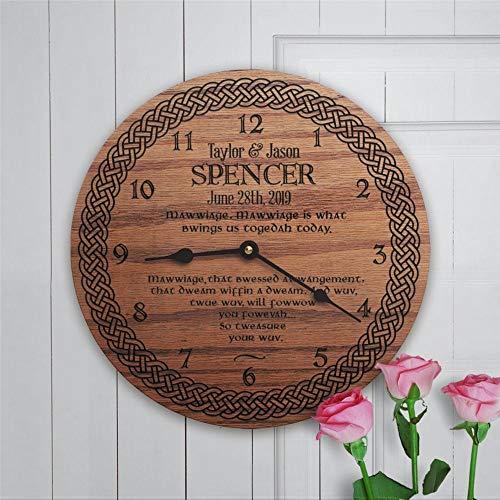 Reloj de pared redondo de madera para boda medieval, personalizable con nombre personalizado mawwiage12 pulgadas redondo de madera colgante para la sala de estar, cocina,