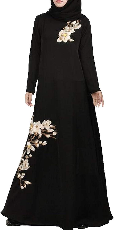 SHOWNO Women's Muslim Middle East Ramadan Floral Embroidery Maxi Robes Kaftan Dress