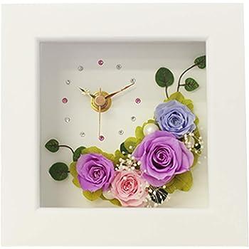 プリザーブドフラワー IPFA フレーム 時計 [フラワー時計 ギフト] 花/バラ/誕生日プレゼント/退職祝い/女性 (ライラック)