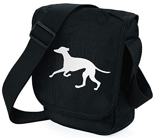 Bag Pixie Bolsa para pasear al perro con diseño de galgo, color dorado o plateado, con bolsa de hombro negra, color Negro, talla Small/Medium