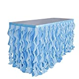 Adeeing 6ft Mixed Blue Tulle Table Skirt Tutu Ruffle Table Skirting Curly Willow Table Skirt for Rectangle or Round Table Baby Shower Birthday Wedding Party Banquet Decoration (L 72in, H 30in)
