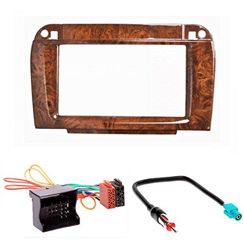 CARAV 11–409–24–7 Kit d'installation autoradio DIN Car de 2 dans Dash Set for MERCEDES-BENZ CLASSE CL (C215) 2002–2006 ; CLASSE S (W220) 2002–2006 (Wooden) + Adaptateur ISO and Antenna Cable